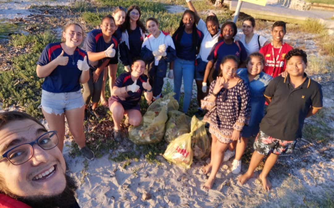 Interact society does beach clean-up